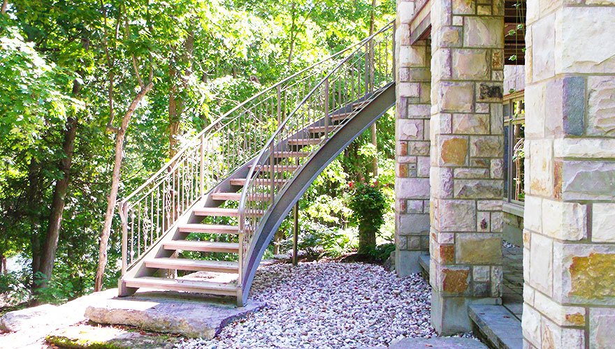 Metal and Wood Curved Staircase