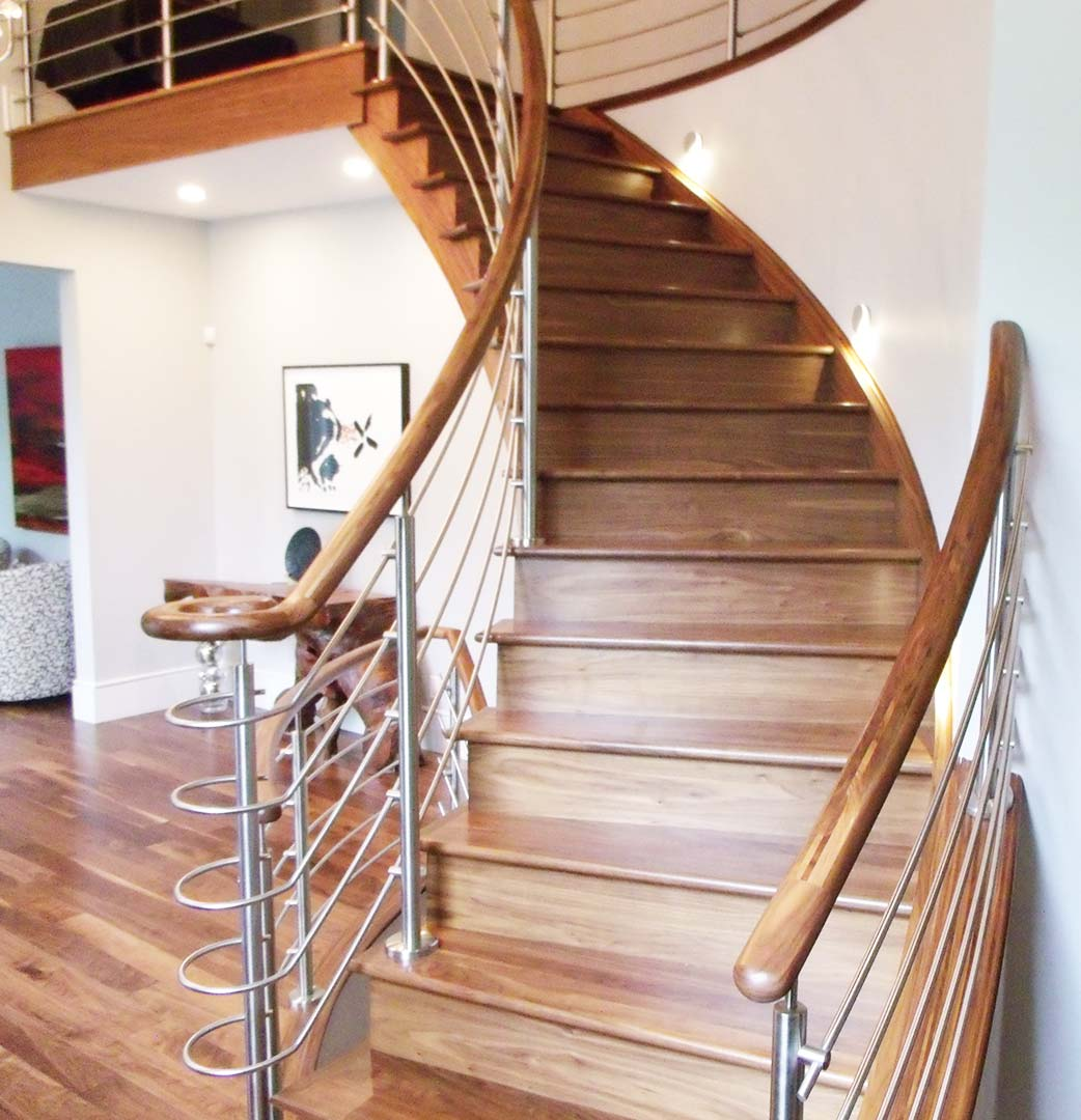 Stainless Steel and Wood Curved Staircase