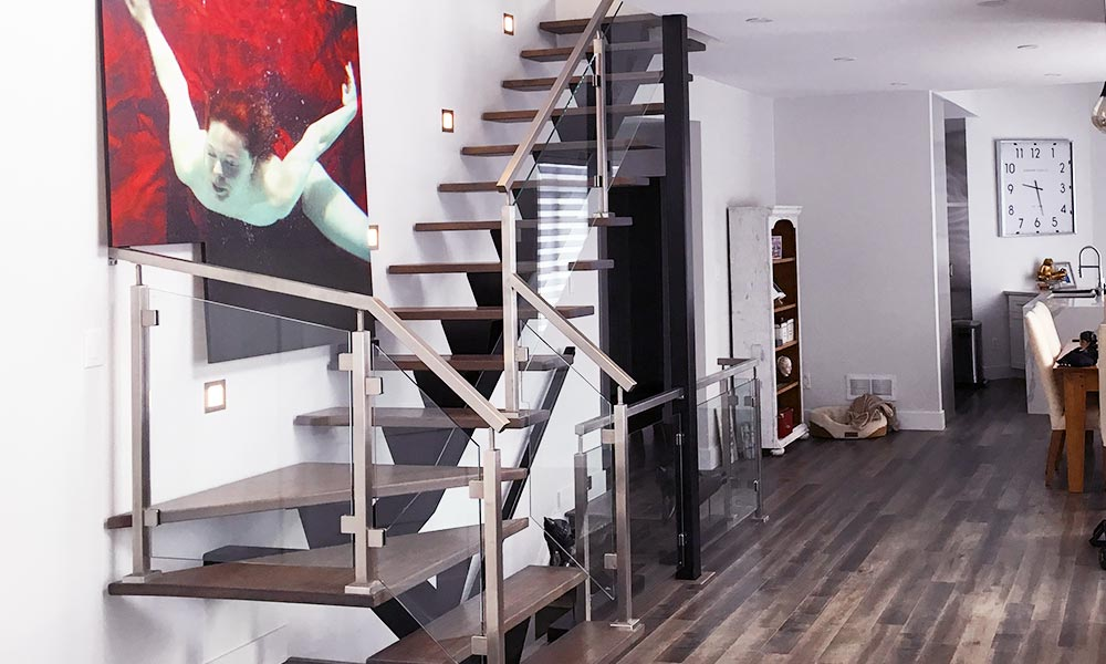 Grey Metal Glass Staircase - full width view