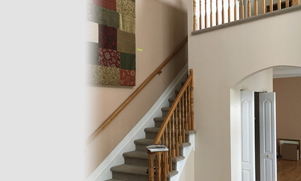 Grey Metal Glass Staircase - Before Picture