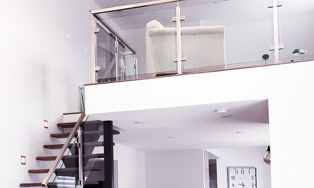 Grey Metal Staircase - close up - upstairs