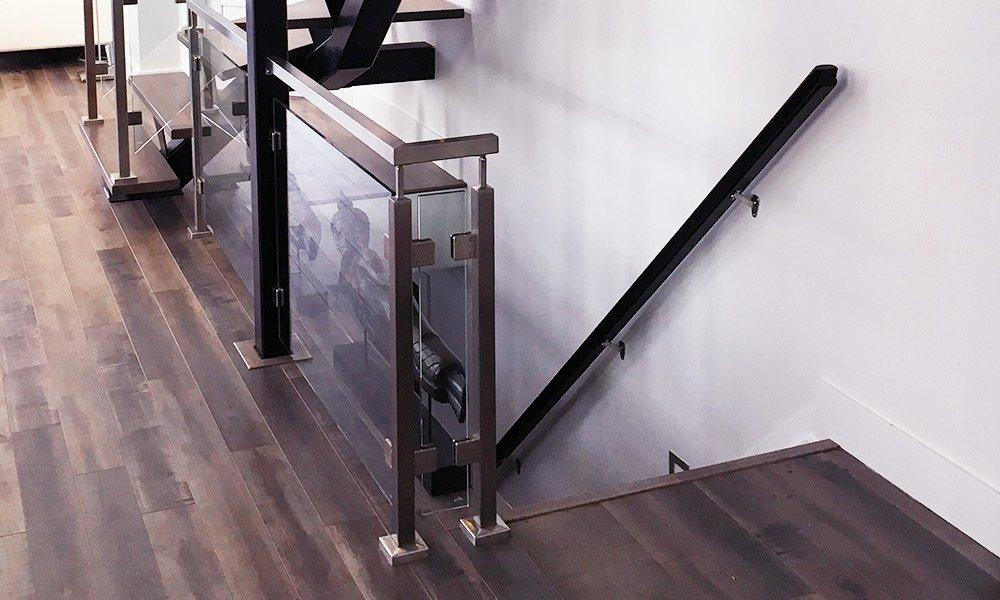 Grey Metal Glass Staircase - Rear View