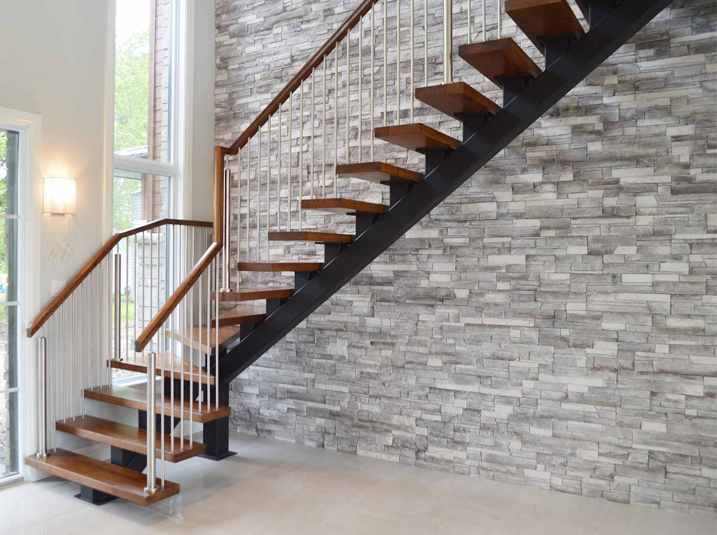 Metal Staircase with Wood Treads and Handrail