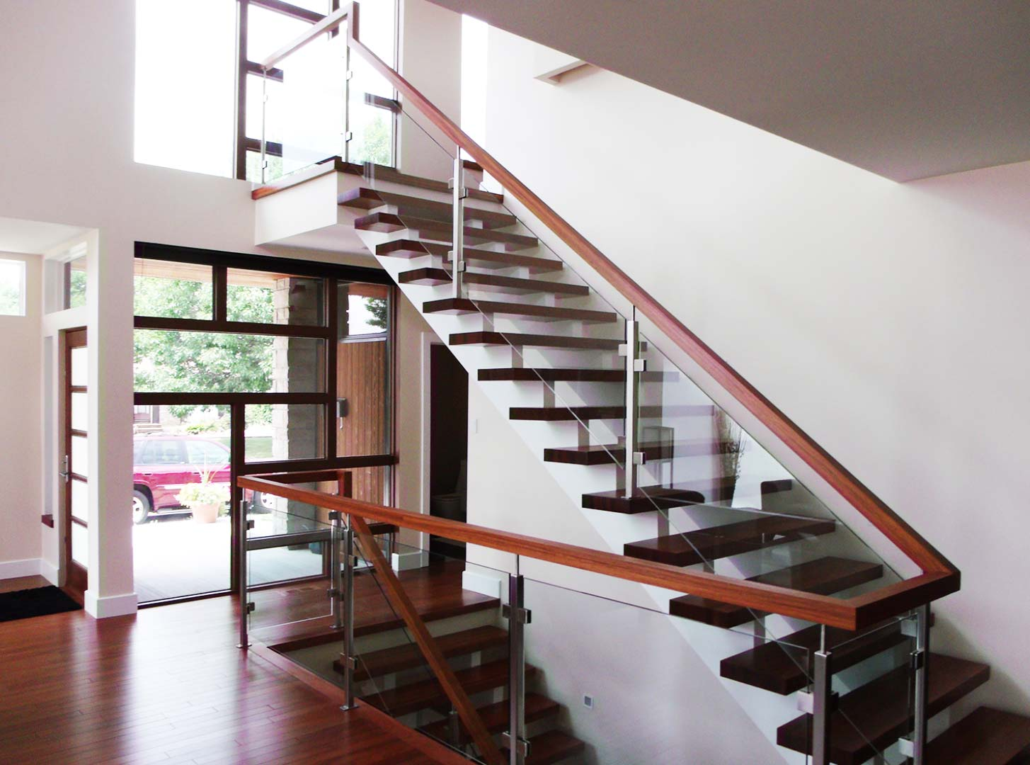 Metal, Glass and Wood Staircase