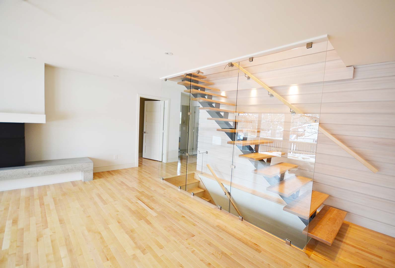 Metal Staircase with Glass Wall