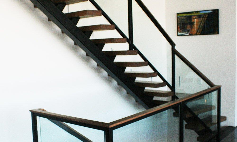 Kirk Hoppner - Metal, Glass and Wood Stairs - Second Floor Back View