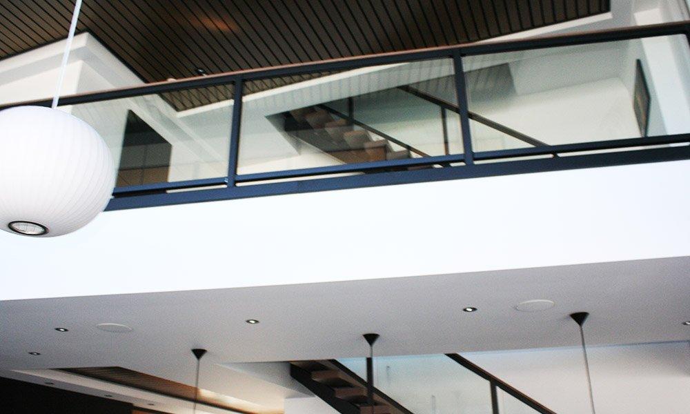 Kirk Hoppner - Metal, Glass and Wood Stairs - Upward View