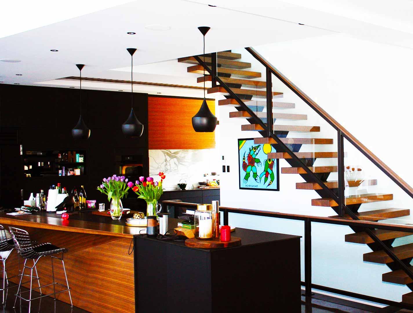 Modern Metal Glass Wood Staircase